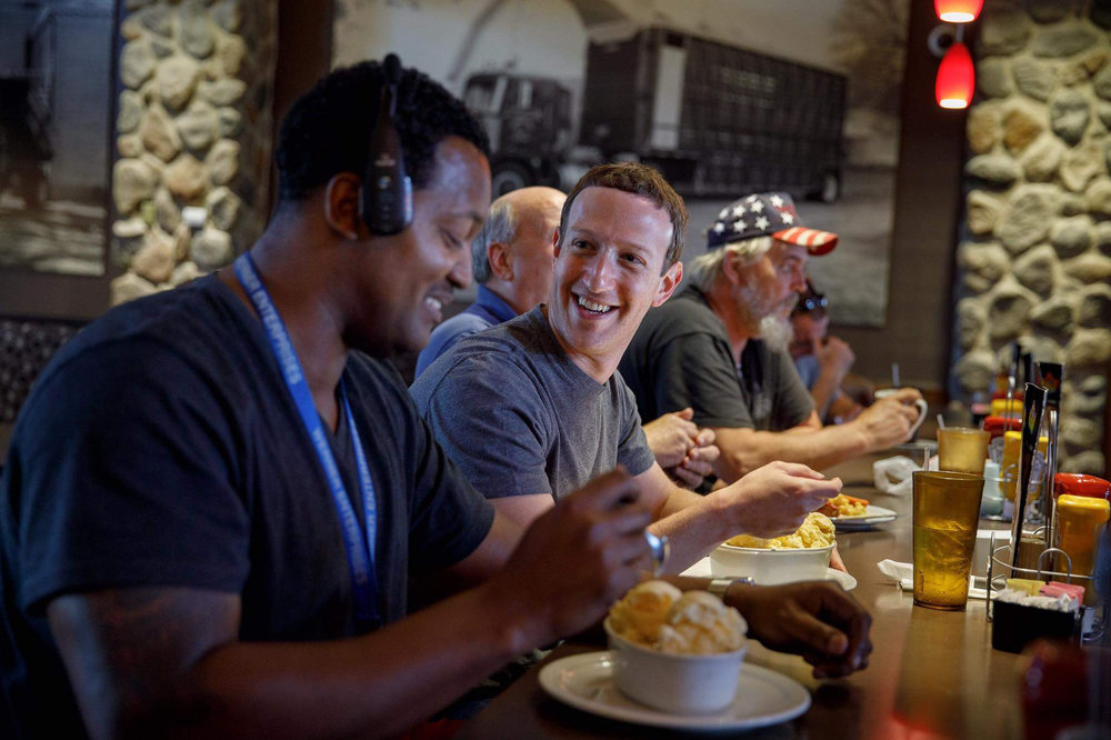 Facebook founder Mark Zuckerberg met with truck drivers during a visit last week to the Iowa 80 truck stop.