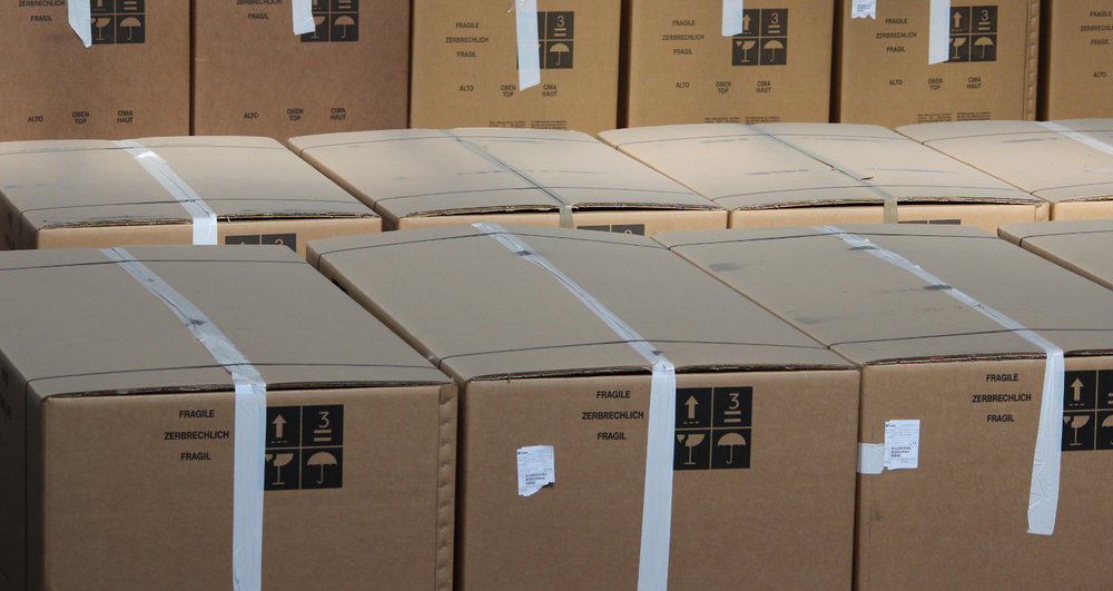 Freight boxes in warehouse