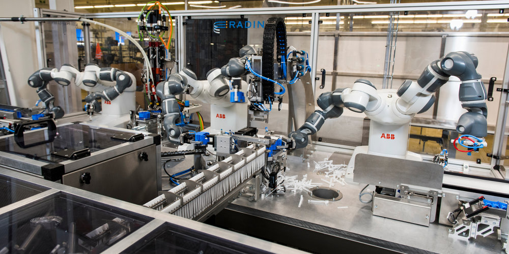 ABB Group's YuMi robot is one of the first designed with two arms and is being used in manufacturing operations, working next to human workers.