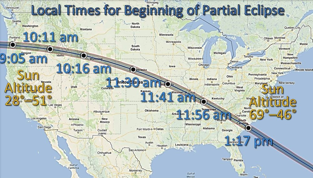 This chart from Youcanseethemilkyway.com shows the approximate local time of the Aug. 21 eclipse as it moves across the country.