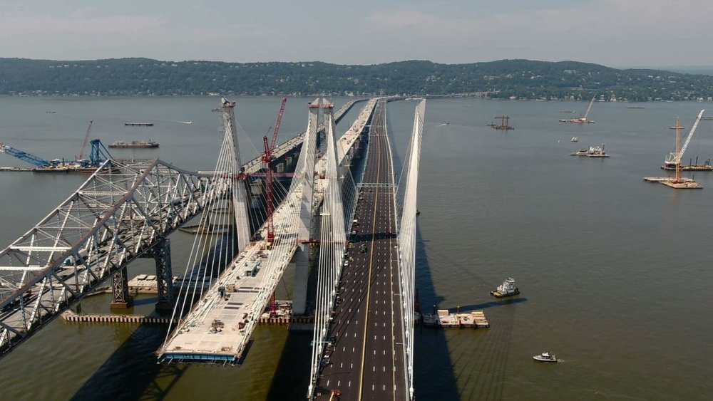 The new Tappan Zee Bridge is seen on the right next to the current bridge. The westbound span opens officially tonight. Work on the eastbound span will continue, with an expected opening date in the spring. ( Photo: New York Department of Transportation )