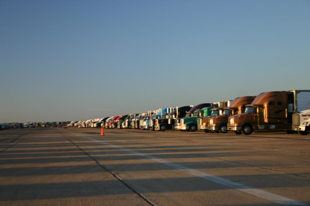 Relief trucks lined up at a hurricane relief site