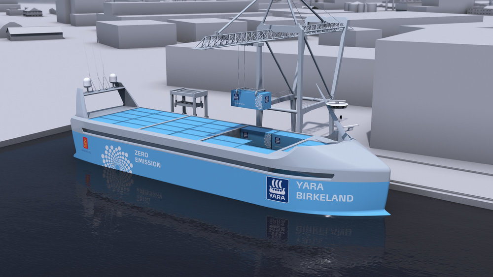 Yara Birkeland's ship produces no emissions and operates autonomously.