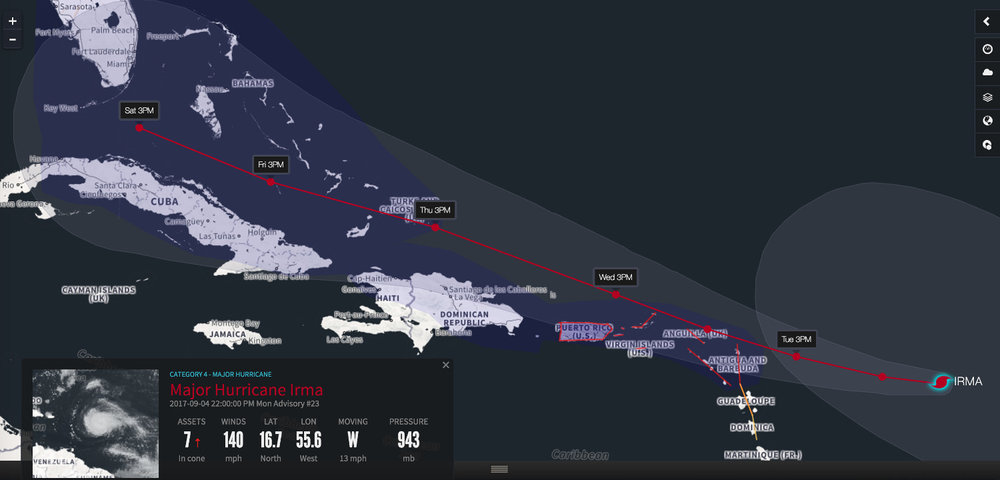 The current projected track of Hurricane Irma. (Photo: Riskpulse)