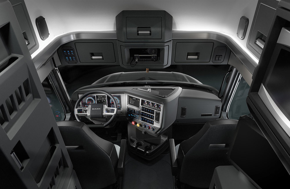 "The inside of the Mack Anthem 70-inch sleeper features Mack's first ""stand-up"" sleeper, which allows drivers to room to maneuver around the cab without ducking."