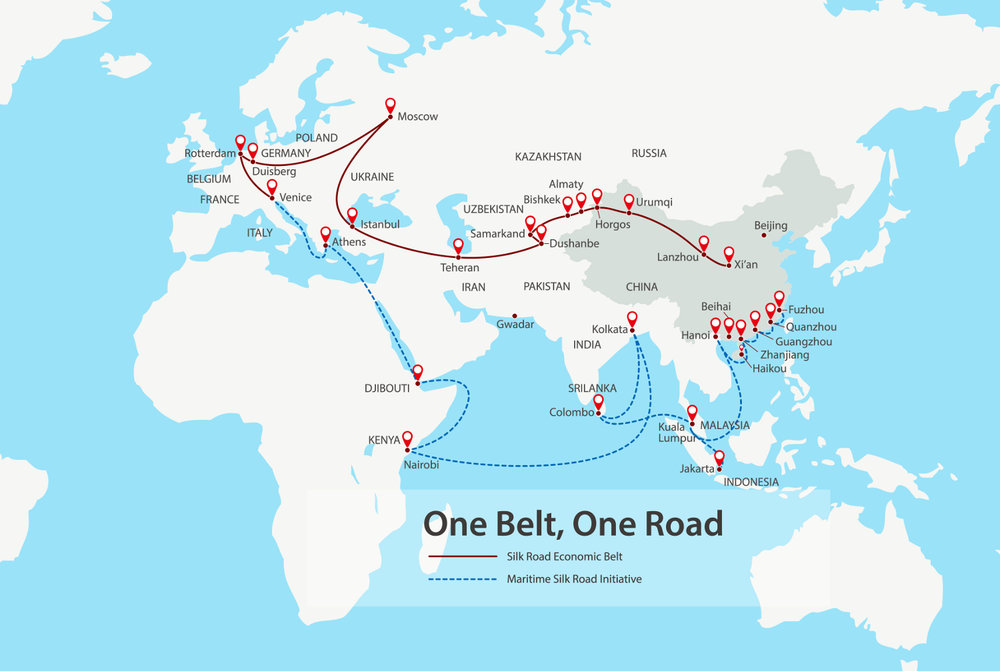 This is a map showing the connections China envisions as it seeks to improve trade. ( Photo: Shutterstock )