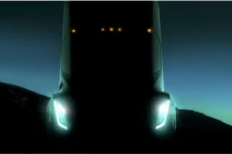 This is the official teaser image of the semi Tesla released earlier this year. Notice the similarities to the image posted on Reddit this afternoon.