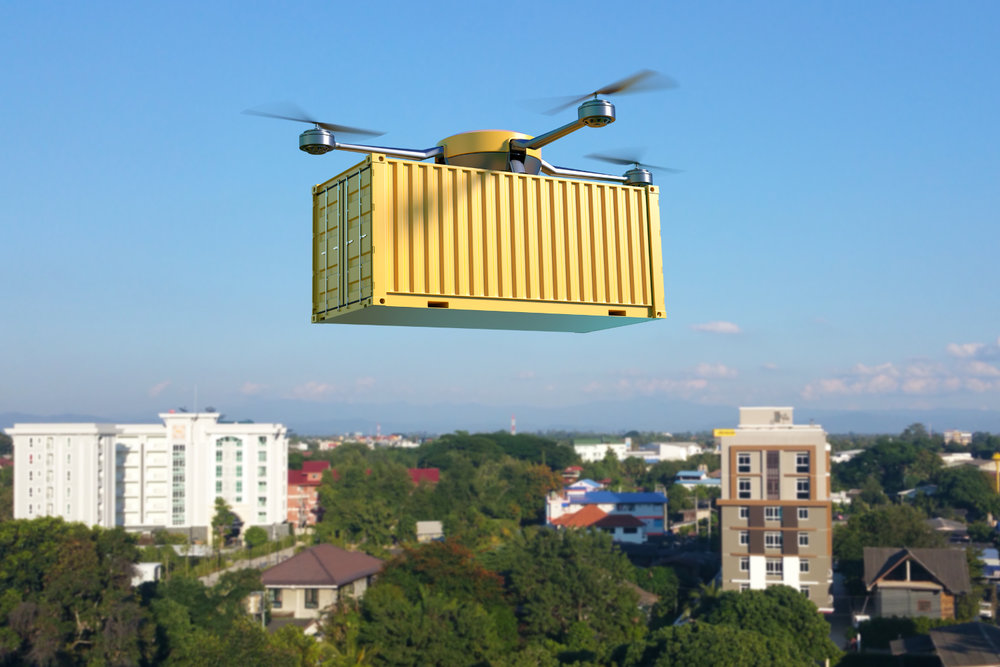 A 3D illustration of a drone carrying a cargo container. Could this type of autonomous aircraft be the future of moving cargo long distances? ( Illustration: Shutterstock )