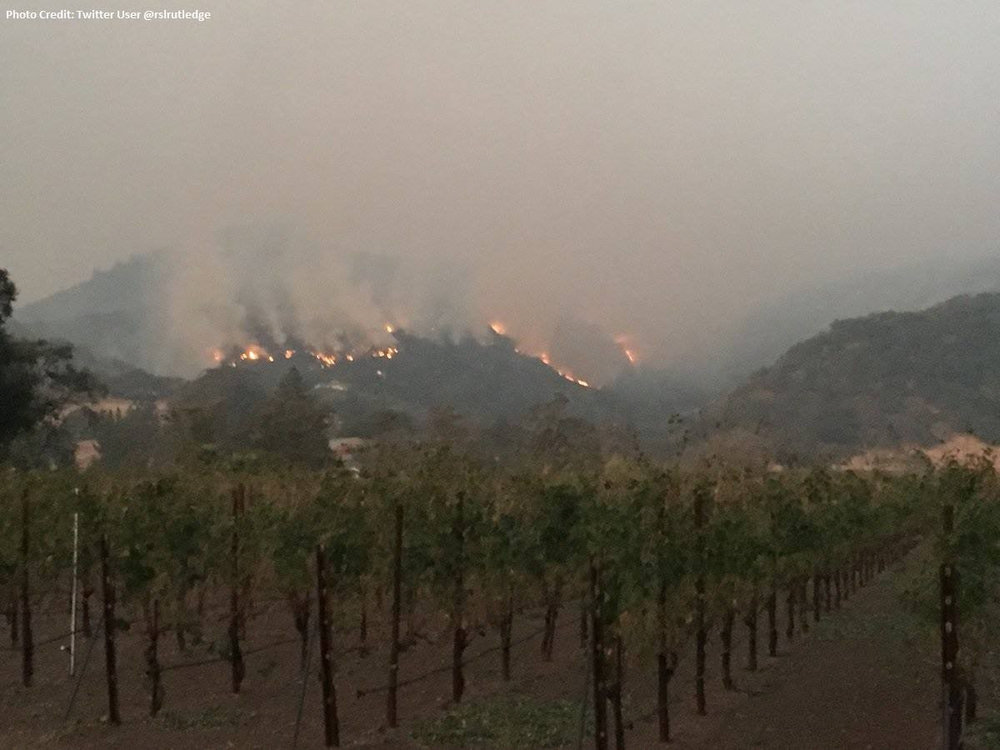 This is one of the fires burning over Sonoma Valley in California. The wildfires are threatening wine production in the region, having destroyed several wineries already. ( Photo: California Department of Forestry and Fire Protection )