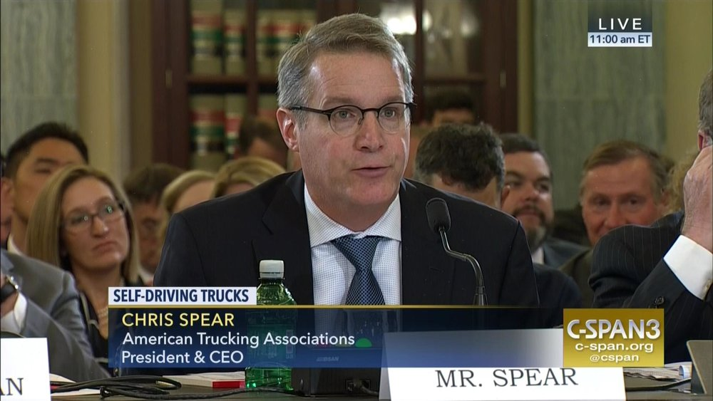 In his State of the Industry speech, ATA President Chris Spear, seen here testifying in Washington earlier this year, talked of the legislative wins the association has gained this year and the strong relationship that exists with President Trump.