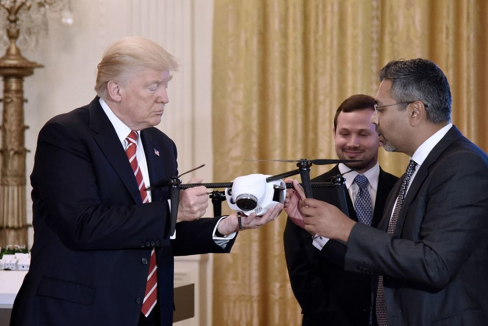 Trump inspects commercial drone
