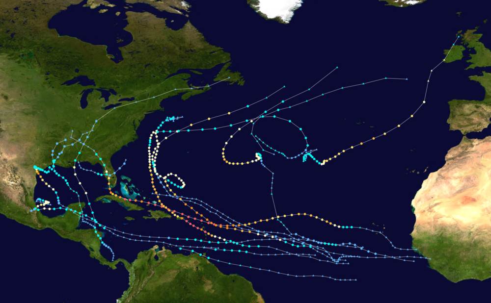 This map shows the tracks of all tropical cyclones in the 2017 Atlantic hurricane season.