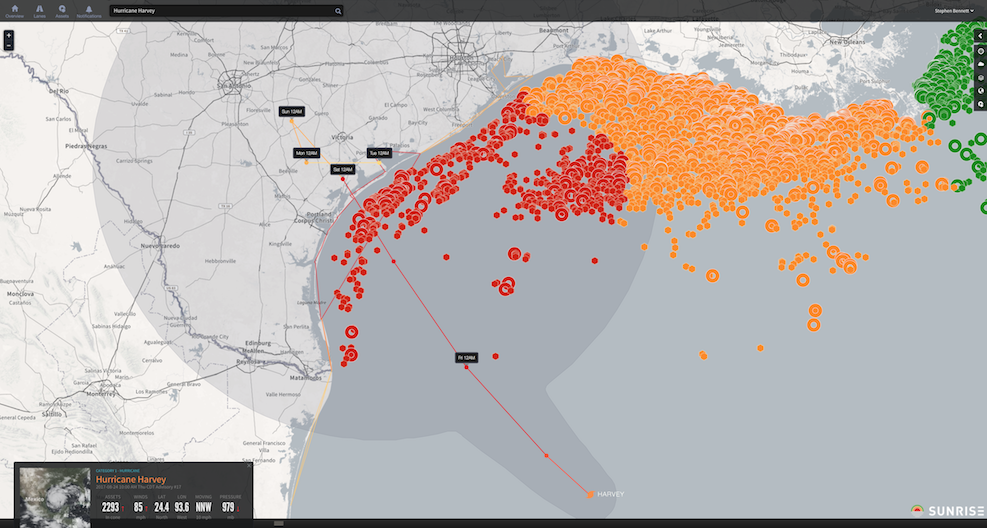 Screenshot of Riskpulse's Sunrise platform showing Harvey's risk to offshore oil platforms.