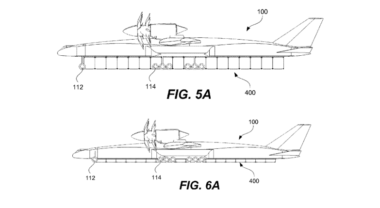 Figures from Boeing's patented intermodal container cargo plane design.