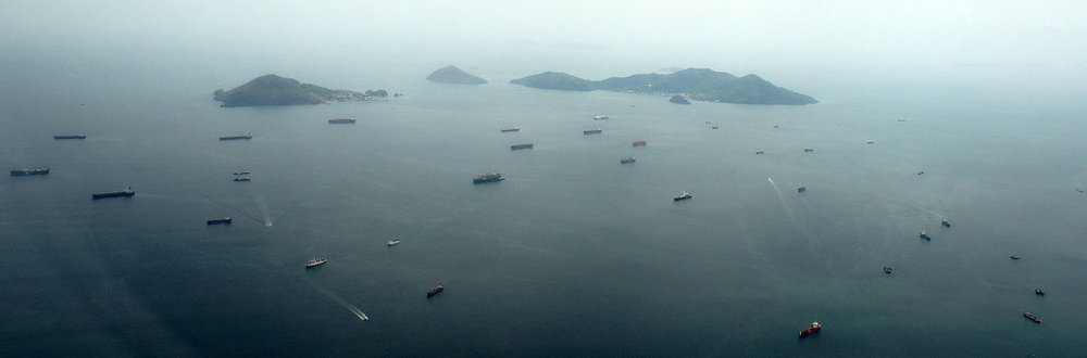 Ships queuing near the Pacific entrance to the Panama Canal in 2013.