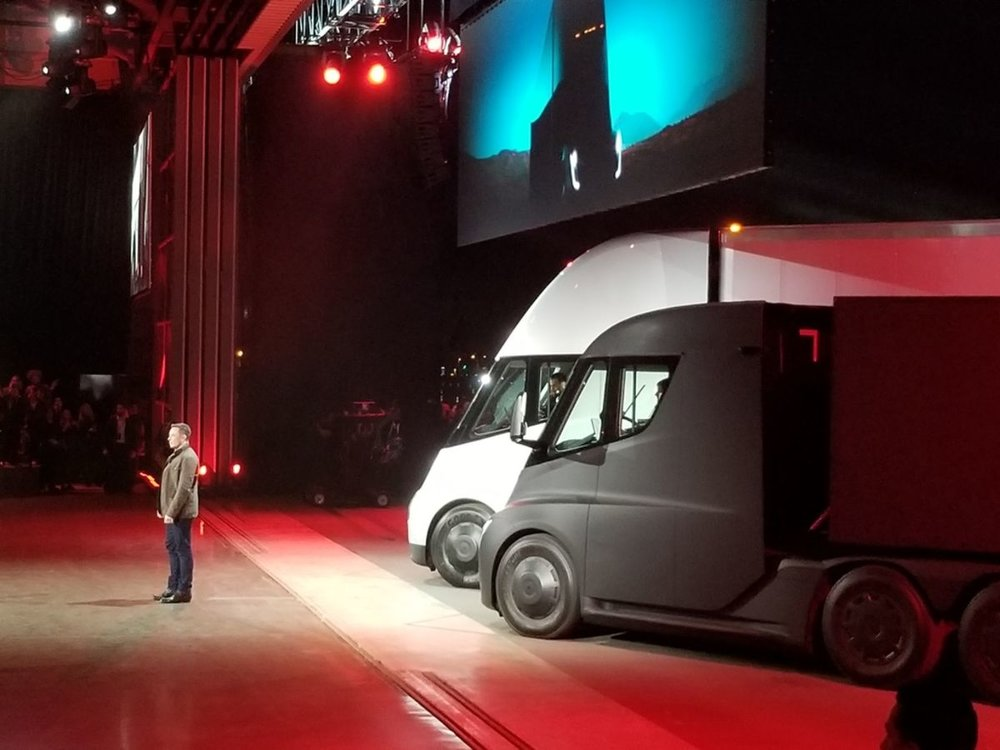 Elon Musk pitches Tesla's new Semi tractors at the unveiling event last Thursday night.