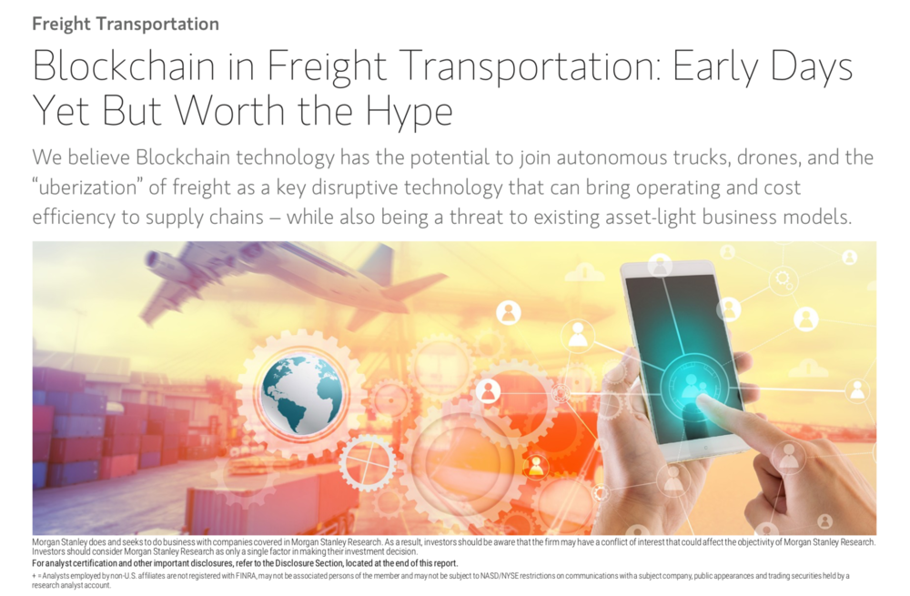 The cover image of Morgan Stanley's latest blockchain research report.
