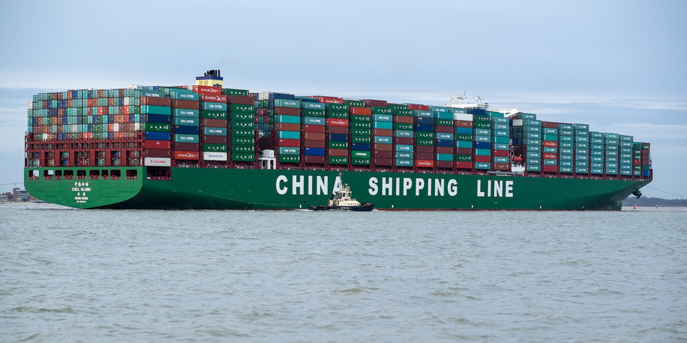 The CSCL Globe, an ultra-large container vessel, arrives at Felixtowe, UK.