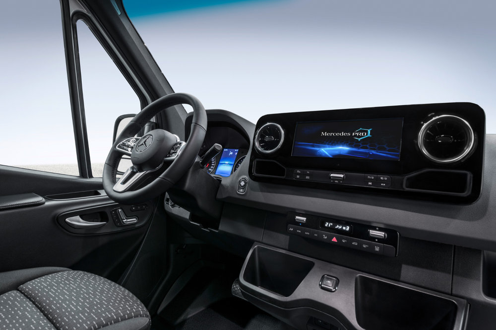 The interior of the third-generation Sprinter. The van now offers Mercedes PRO, an Internet of Things connectivity platform.