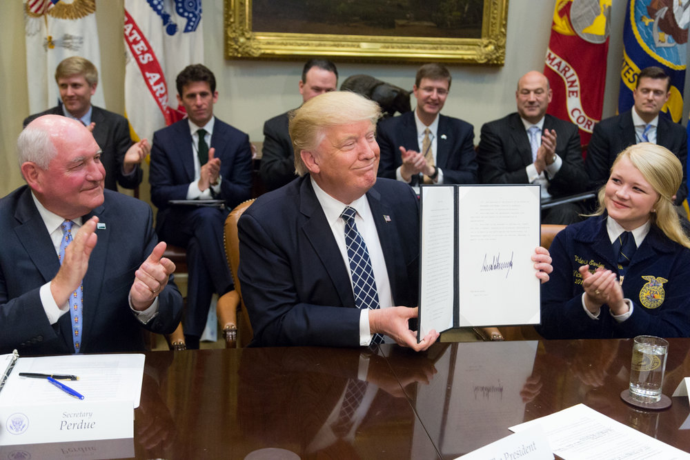 President Trump at an Executive Order signing earlier this year. Opponents of the ELD mandate are hoping it will sign a last-minute order delaying the rule.