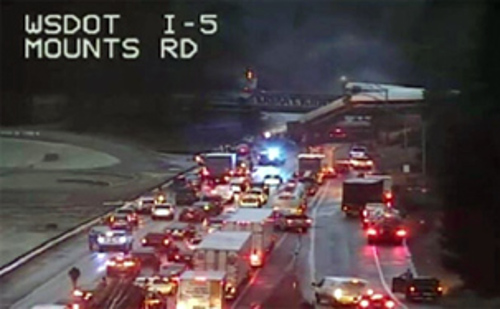Traffic is being rerouted after an Amtrak train derailment closed the southbound side of I-5 in Washington, just south of Tacoma.