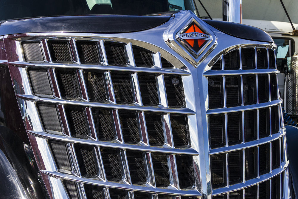 Front end grille of a Navistar International Semi Tractor in February 2017 (Photo: Jonathan Weisse, Shutterstock).