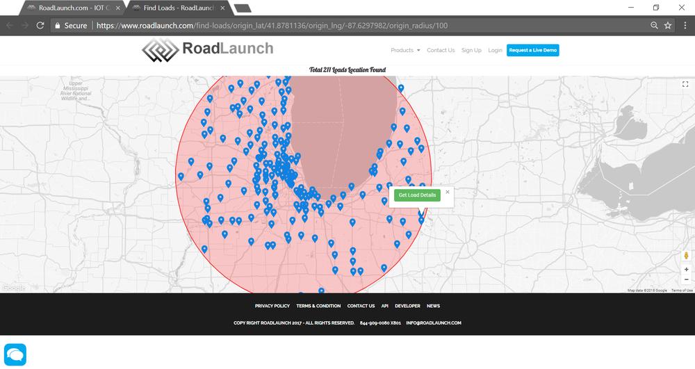 A screenshot of the RoadLaunch site.