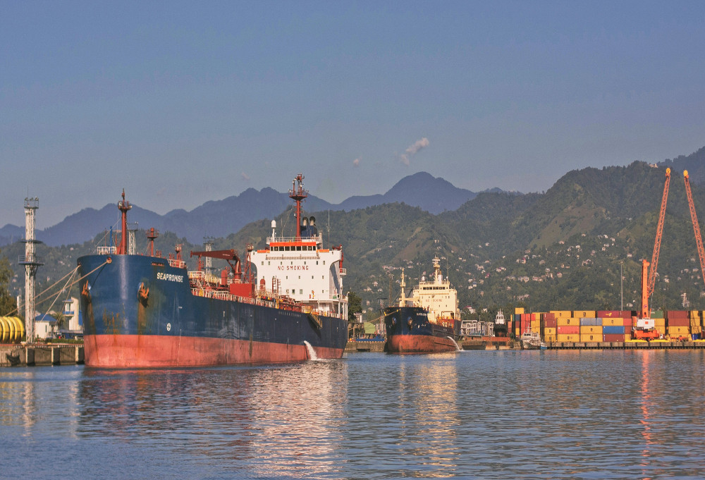 Ships sit in the Port of Batumi in Georgia. China views the country as a vital trade link for exports. ( Photo: Wikimedia Commons/Khuroshvili llya )