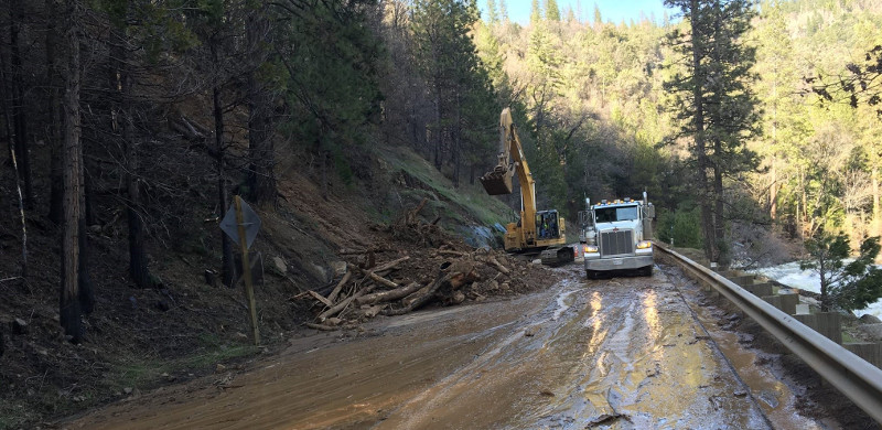 U.S. Highway 50 was one of the roads that was damaged following the California mudslides last week. ( Photo: Caltrans )