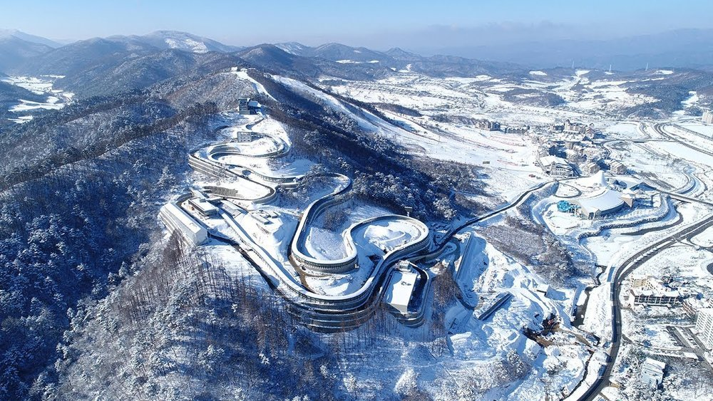 Aerial view of Olympics competition venues in PyeongChang, South Korea.
