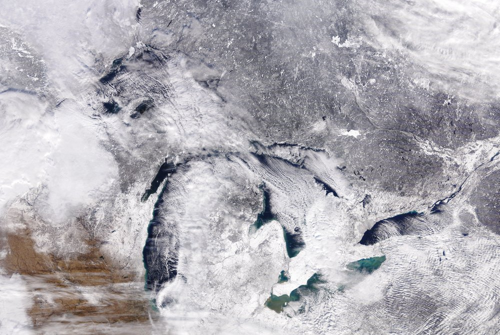 The Great Lakes in December 2017, as seen from a satellite.