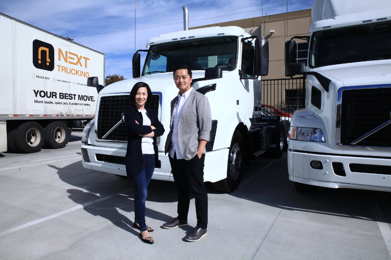 NEXT Trucking co-owners Lidia Yan, left, and Elton Chung believe their platform provides a modern way to connect truckers and shippers without the time and cost typically seen.