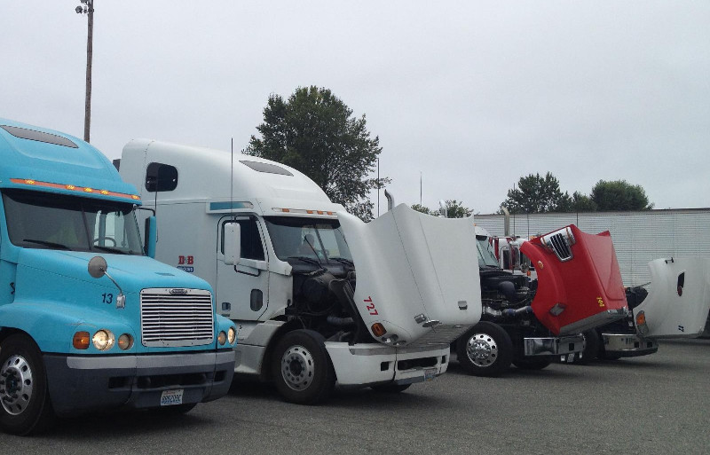Trucks line up at the Port of Tacoma during a truck inspection event.