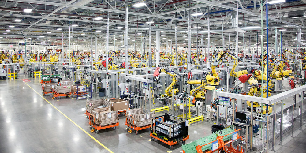 A highly automated Foxconn plant. Since the release of the iPhone 6, Foxconn has replaced more than half its workforce with robots.