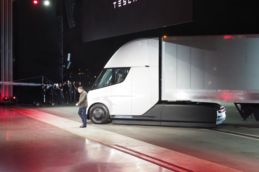 Elon Musk unveiled the Tesla Semi in Hawthorne, CA, last year.