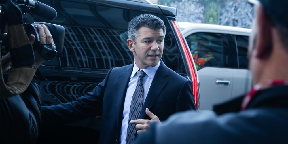 Former Uber CEO Travis Kalanick leaves court after completing his testimony.