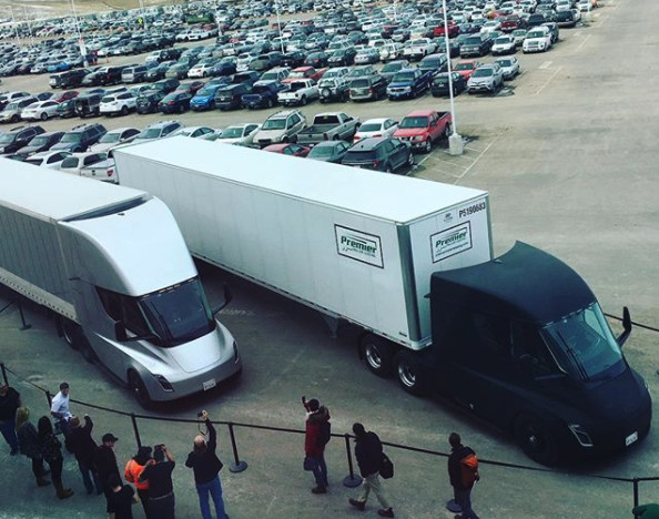 Elon Musk sent out this image of two Tesla Semi's ready for their maiden voyage hauling battery packs to a Tesla plant.