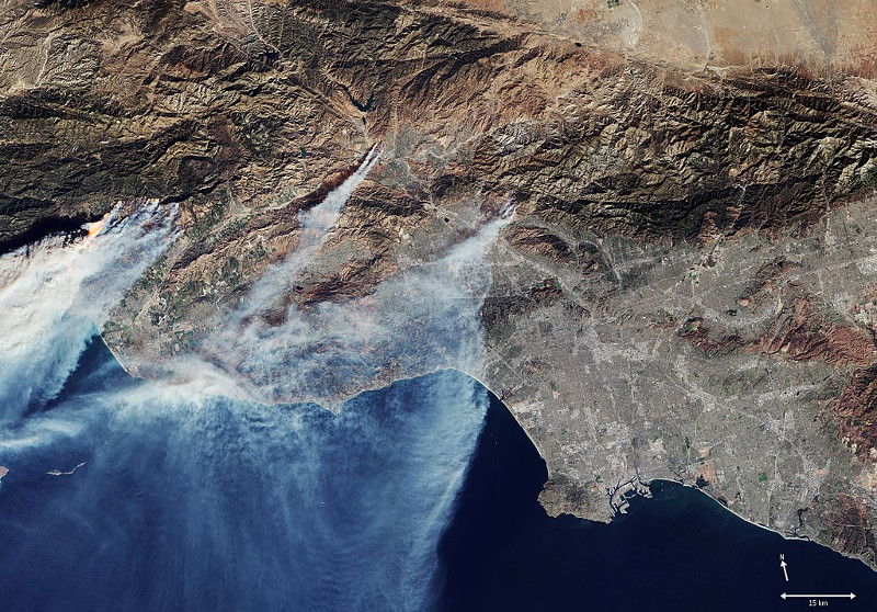 Captured by the Copernicus Sentinel-2 mission on Dec. 5, 2017, this image shows flames and smoke from the fierce blazes devastating northwest Los Angeles in Southern California.