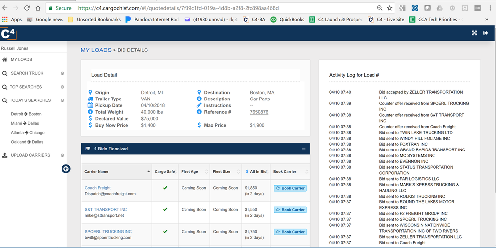 A screen shot of how the booking assistants page for Cargo Chief looks.  (Photo: Cargo Chief)