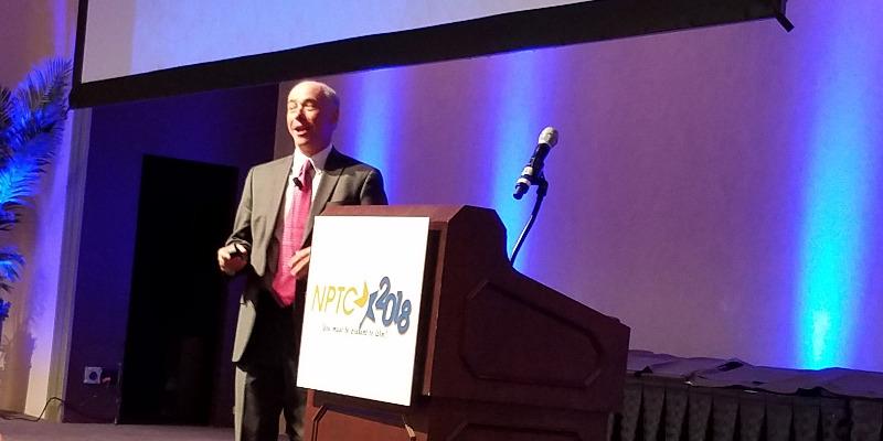 Dan Murray, vice president of ATRI, speaks during his presentation at the NPTC 2018 conference in Cincinnati.