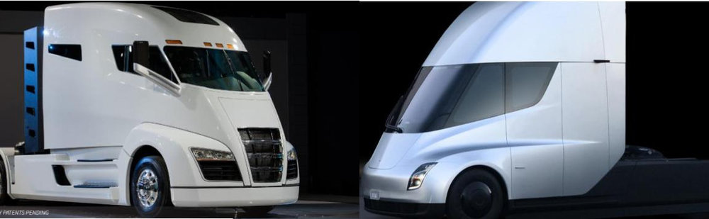 Nikola Motor has sued Tesla for patent infringement on its Nikola One, at left. The Tesla model is at right. Nikola claims Tesla violated patents on door placement, wraparound windshield and the fuselage.