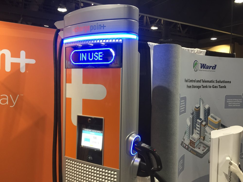 ChargePoint's EV charging station. ( Photo: FreightWaves )
