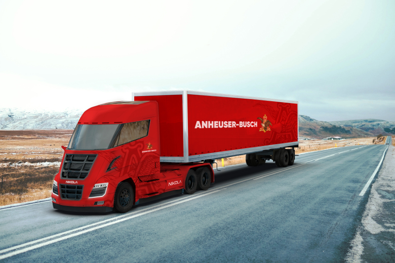 Anheuser-Busch will begin testing 28 Nikola One day cab trucks at two facilities before the end of the year. ( Photo: Nikola Motor Company )