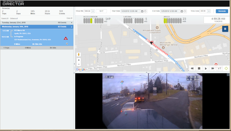 """The Teletrac Navman DIRECTOR Event Viewer feature, paired with dashboard camera footage, can be used for a full view of unsafe driving events to coach drivers on driving behavior or acquit the driver of being at fault."""" ( Click to enlarge )"""