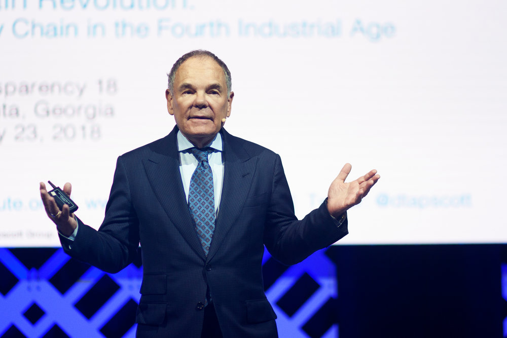 Don Tapscott delivers a keynote at Transparency18. ( Photo: FreightWaves )
