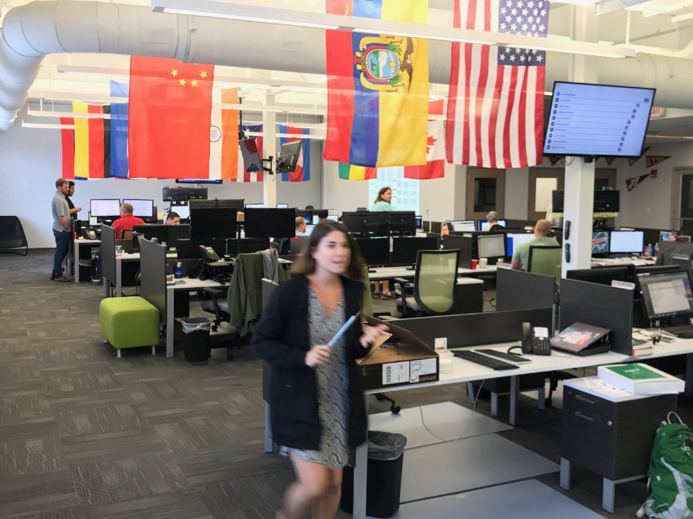 A view of some of the flags representing the wide variety of nationalities in the Reliance Chattanooga headquarters.
