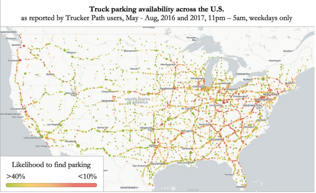 Trucker Path heat map indicating parking intensity especially in the eastern U.S.