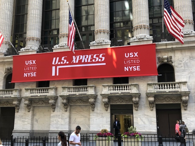 The banner outside the New York Stock Exchange on June 14, the day of U.S. Xpress' IPO.