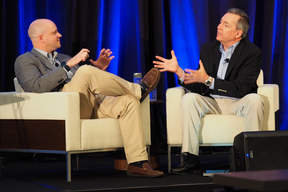 FreightWaves' George Abernathy interviews Craig Fuller at TMSA 2018.    Photo: Deb Schroeder Photography and the Transportation Marketing & Sales Association