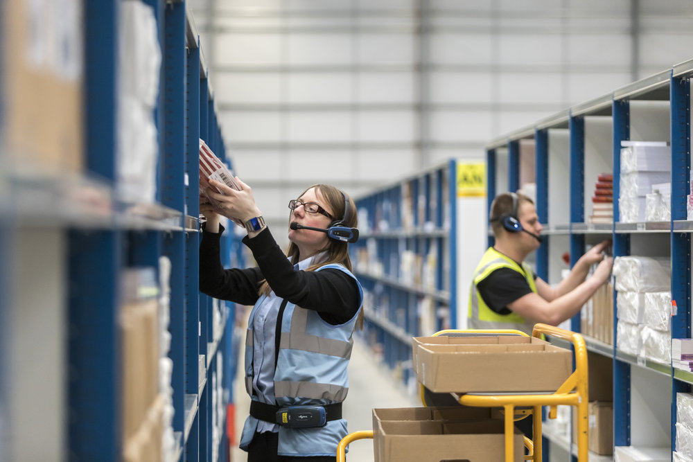 A warehouse picker using Voiteq voice solutions. ( Photo: Centriq Group )